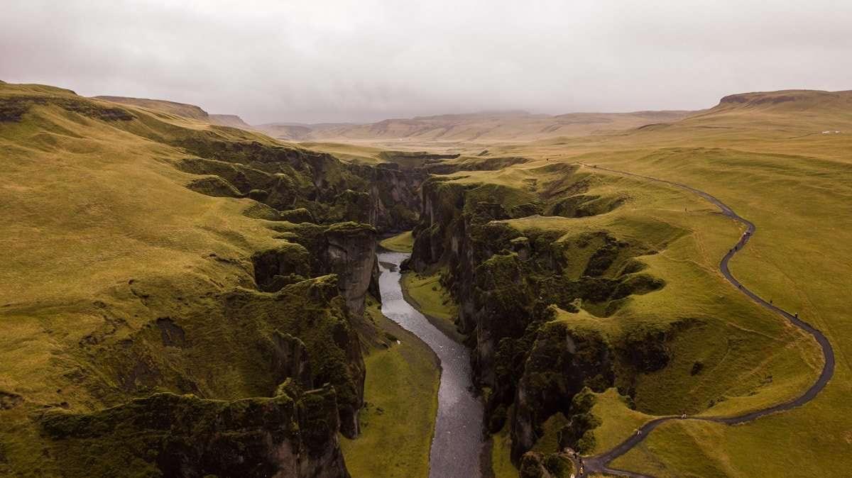 The massive Fjadrárgljúfur canyon.